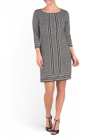 Max Studio - M - NWT - schwarz & Ivory Geometric Print 3 4 Sleeve Shift Dress