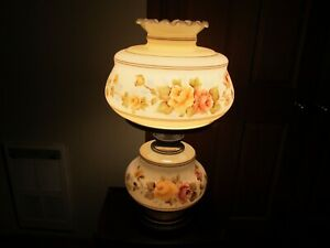 Vintage-GWTW-Hand-Painted-Hurricane-3-way-Table-Lamp-Pink-amp-Peach-Roses-14-034-H