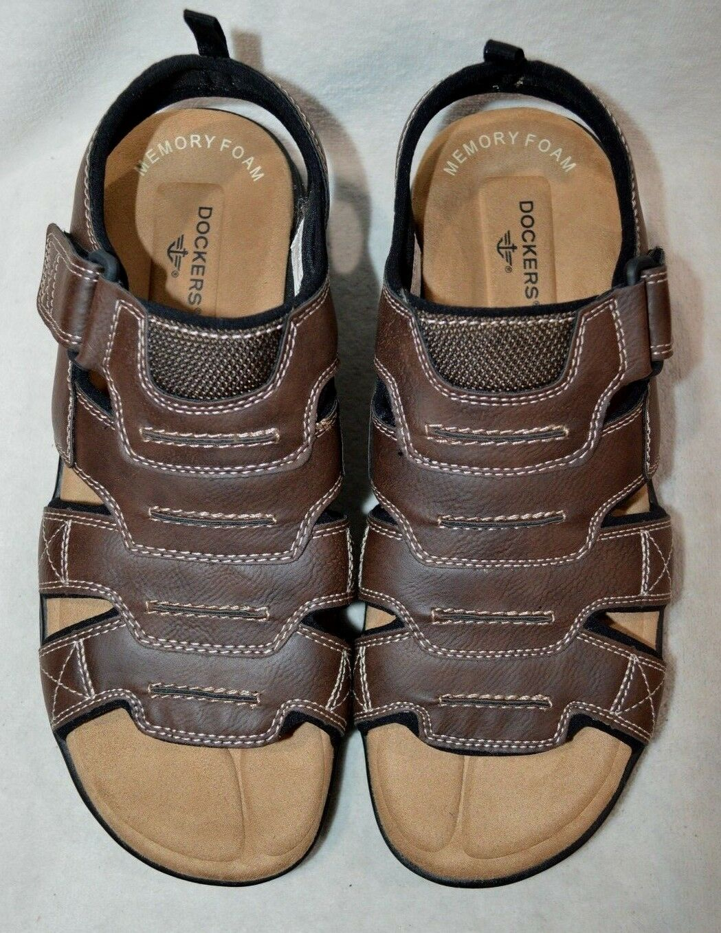 6166cbd11cda9c ... Dockers Men s Men s Men s Shorewood Brown Memory Foam Fisherman Sandals-Sz  9 10  ...
