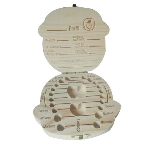 Kid Baby Keepsake Wood Tooth Fairy Case Save Milk Teeth Organizer Storage Box
