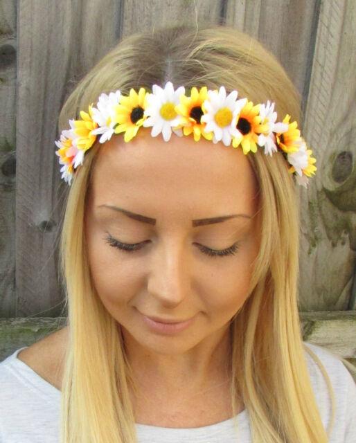 Yellow white daisy sunflower flower garland headband hair crown yellow white daisy sunflower flower garland headband hair crown festival 1913 mightylinksfo