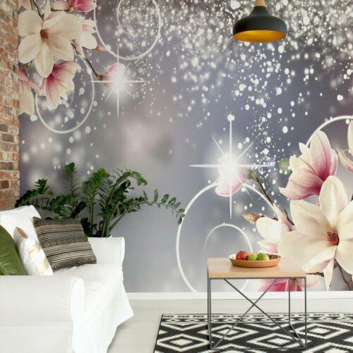 Design Tapete Vlies Fototapete Blumen modernes Muster rosa Magnolien