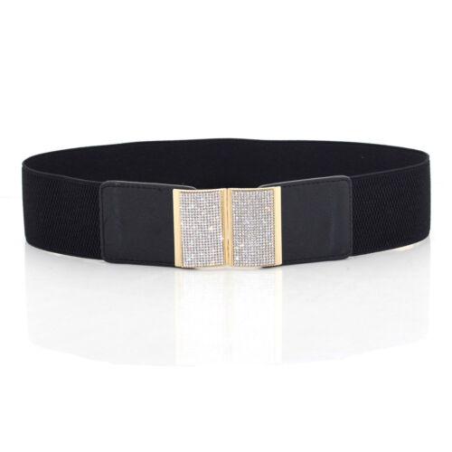 Le donne donna nero elastico in vita cintura elastica Diamante Fibbia Larghezza 65 mm