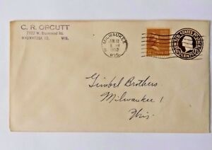 USA-Cover-Envelope-George-Martha-Washington-w-1-1-2-Cent-Stamps-1952-Wisconsin