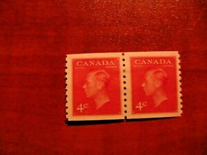 Canada 1950 #300 4c pair King George VI Coil Stamp Mint Hinged VF, Perf 9 1\2