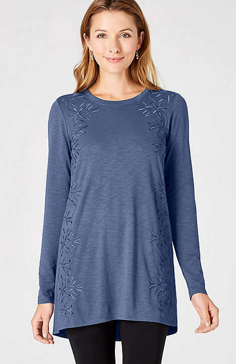 J. Jill - XL(18 20) - Gorgeous Imperial Blau Embroiderot & Beaded Knit Tunic NWT