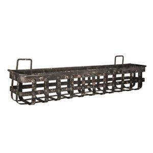 Antique-Black-Iron-Band-Wall-Basket-Primitive-Country-Farmhouse