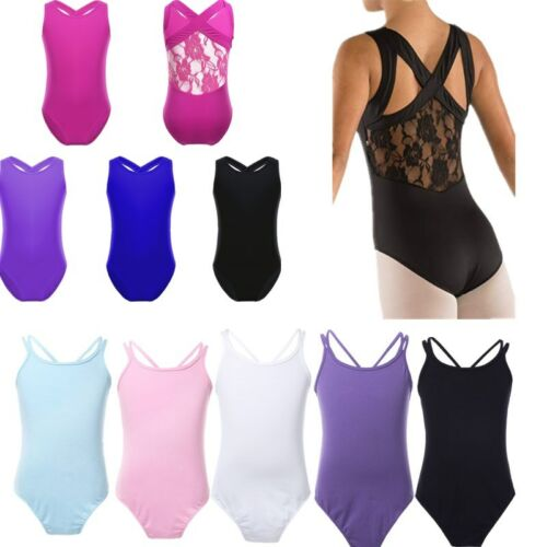 Kids Girls Gymnastics Ballet Dance Leotard Bodysuit Splice Dancewear Costume