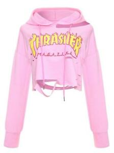 72f98d2cb4a9 Women Crop Hoodies THRASHER MAGAZINE Flame letter printed Crop hat S-XL 768