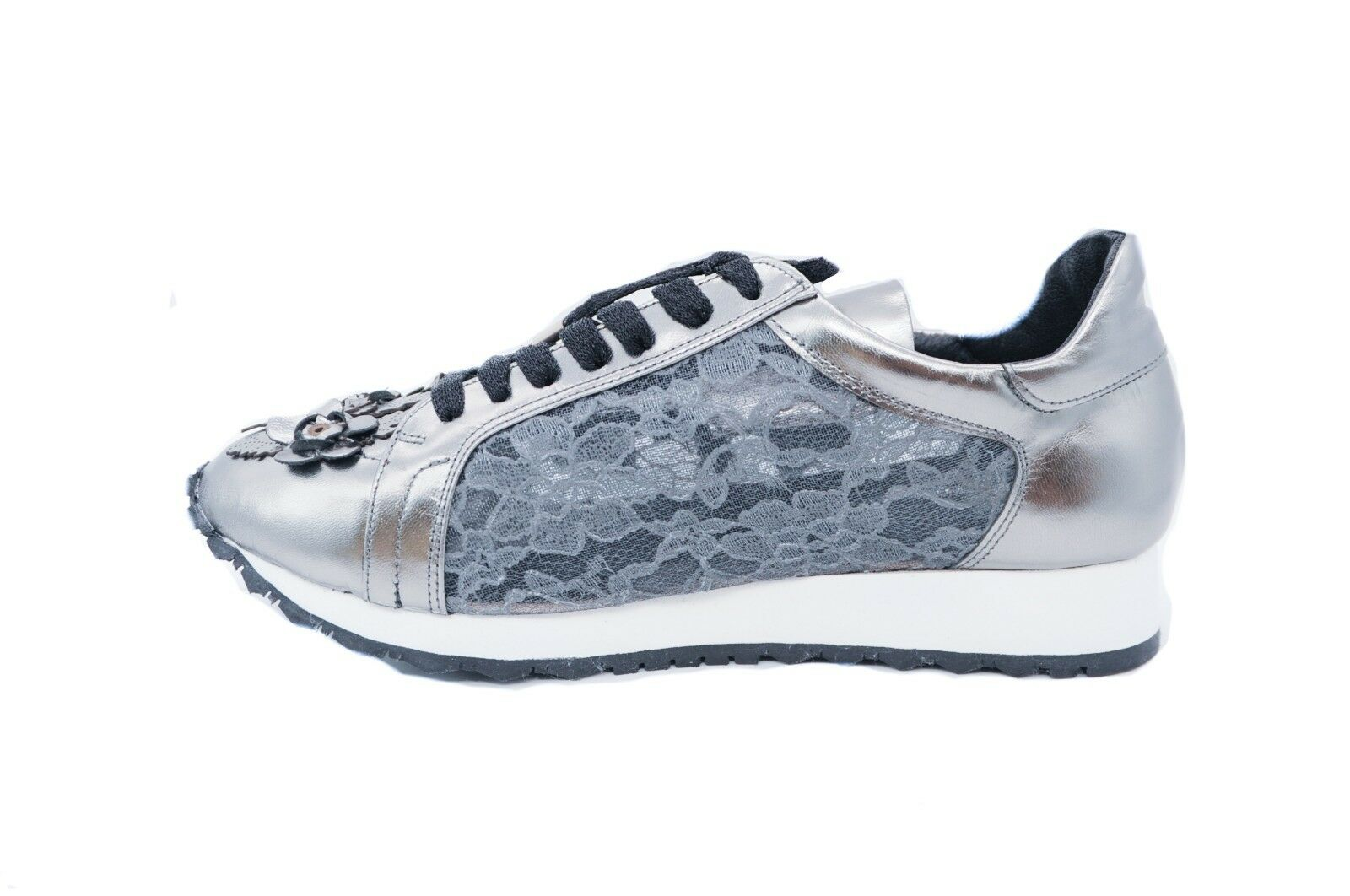 Goody2shoes Ladies' Leather Trainers with 3D Silver Floral Floral Floral and Lace UK Designed bb7ec7