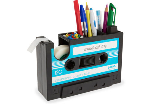 Rewind Desk Tidy Retro Cassette Tape Dispenser Office Gadget Storage - Blue