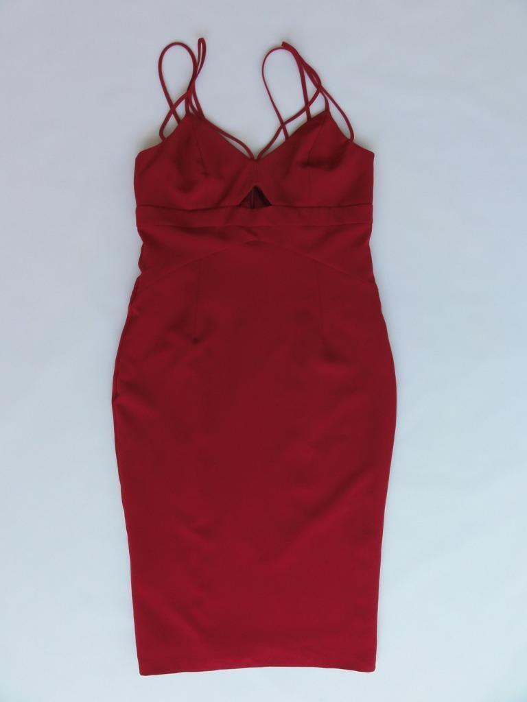 BARDOT CUTAWAY DRESS, Wine, Sizes XS, M, MSRP  99