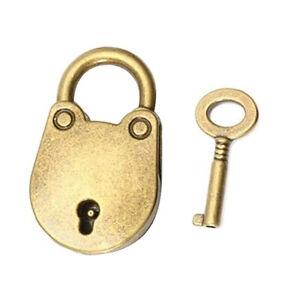 Mini-Vintage-Style-Antique-Copper-Padlock-Small-Luggage-Box-Key-Lock-Hardware