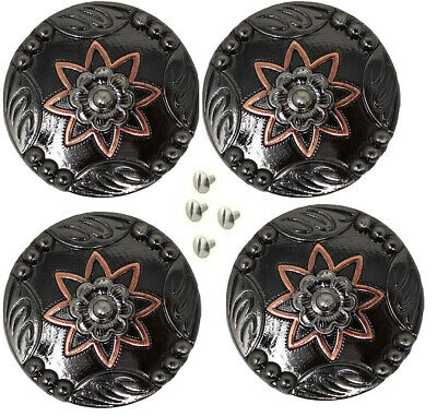 """Concho Set of 4 Conchos Western Saddle Tack 1-1//4/"""" Engraved Copper Flower 401559"""