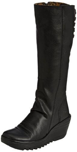 FLY LONDON YUST Cuir Noir Bottes Femme Hi Wedge Boots