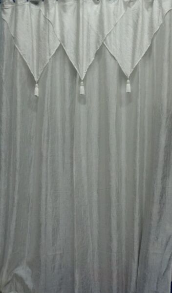 Vintage Ivory Shower Curtain Tailored Panel W Attached Valance Vinyl Liner