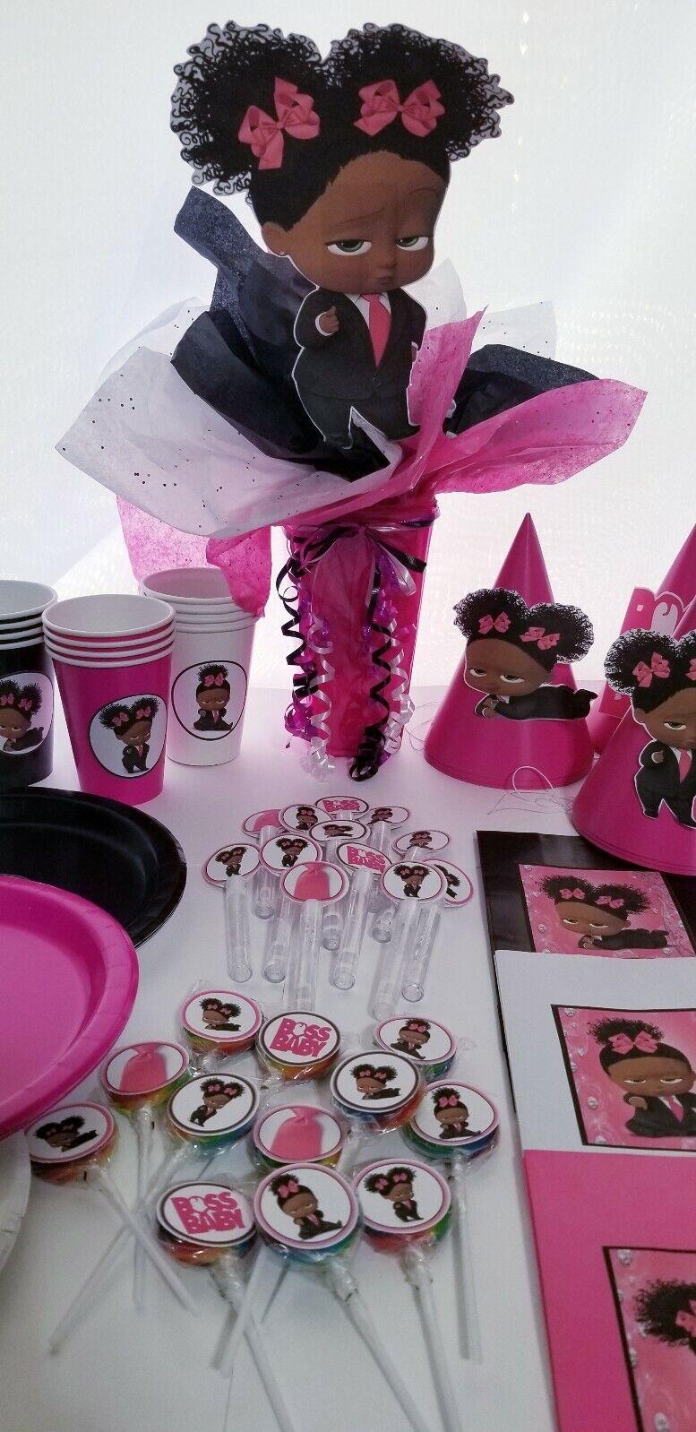 African American Girl Diamante jefe Bebé Party Supplies