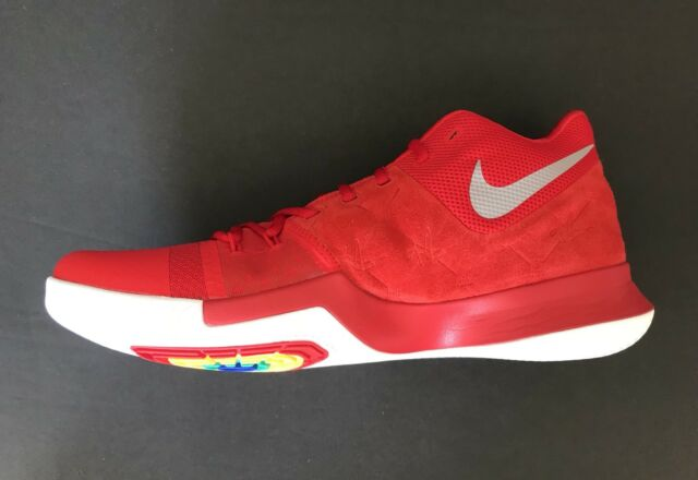 400249ca5cd3 Nike Kyrie 3 University Red Suede Basketball Shoes 852395-601 Size Men s  10.5 US