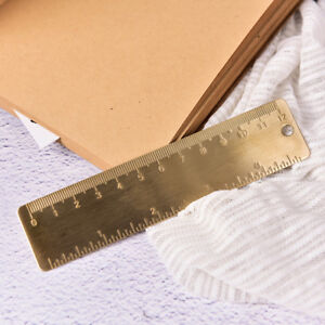 Pocket-Mini-Vintage-Brass-Ruler-4-034-keyring-attachment-bookmark-Dual-Scales-G7