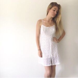 vintage white lace slip dress nightie lingerie 6 8 10