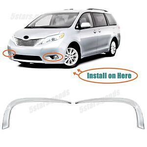 Details About Accessories Chrome Front Fog Indicator Light Trims For 2017 Toyota Sienna