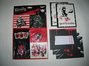new-Emily-Strange-6-piece-refrigerator-magnet-set-2-cards-3-envelopes