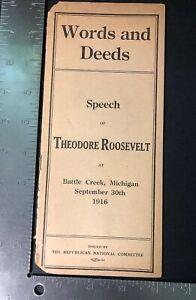 Words-And-Deeds-Speech-Of-Theodore-Roosevelt-Booklet-1916-Michigan