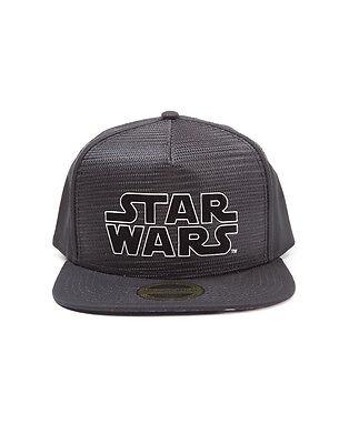 OFFICIAL STAR WARS METAL SYMBOL BLACK SNAPBACK CAP WITH PRINTED VISOR (NEW)