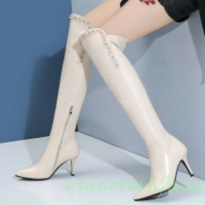 Occident Womens Pointy Toe Floral Stiletto Heels Casual New Over Knee High Boot
