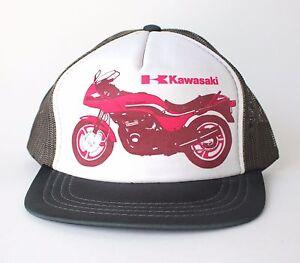 Image is loading Vintage-Kawasaki-Motorcycle-Trucker-Hat-Baseball-Cap -Snapback- 2e60fb6046a