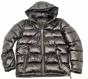 Guess Men S Basic Puffer Jacket Black Winter Hooded Coat
