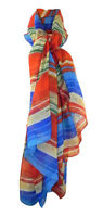 LARGE VERSATILE FINE FLOATY RUST, BLUE.GREEN & BEIGE STRIPED SCARF 68 INS X 44 I