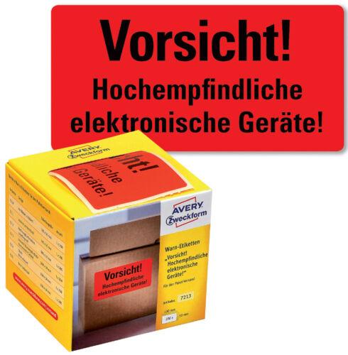 """AVERY Zweckform Etikettenrolle /""""Vorsicht Elektronische Geräte!/"""" neonrot 200 Stk"""
