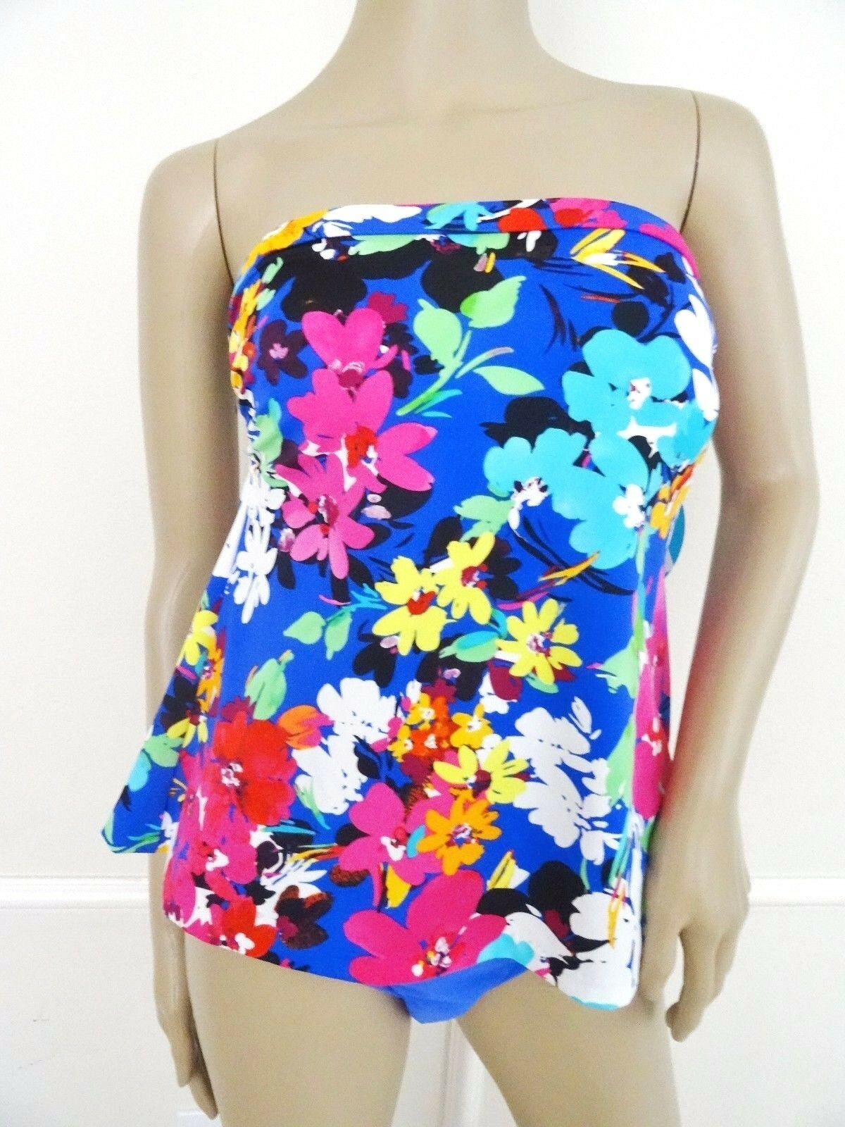 Nwt Swim Solutions Strapless Faux Tankini 1 PC One One One Piece Swimsuit Sz 14 Floral eac06c