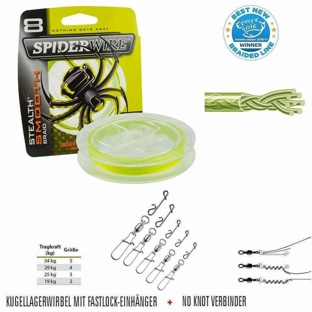 600m SPIDERWIRE STEALTH smooth 8 y 0.2020kg  notaknot  cuscinetti a sfere verdeebre