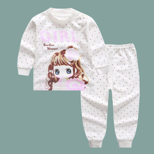 Kids Children Girls Casual Long Sleeve Pullover Round Neck Printed Tops Pants