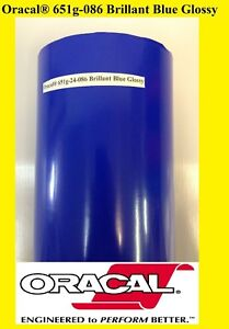 "24"" x 10 FT Brillant Blue Glossy Oracal 651 Vinyl Adhesive  Plotter Sign 086"