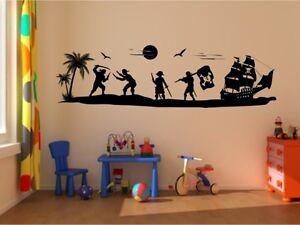 wandtattoo pirateninsel schiff mit piraten insel pirat wandaufkleber neu cool ebay. Black Bedroom Furniture Sets. Home Design Ideas