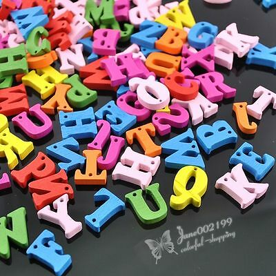 100Pcs Mix Color Wood Buttons Alphabet DIY Craft Scrapbook Sewing Appliques 15mm