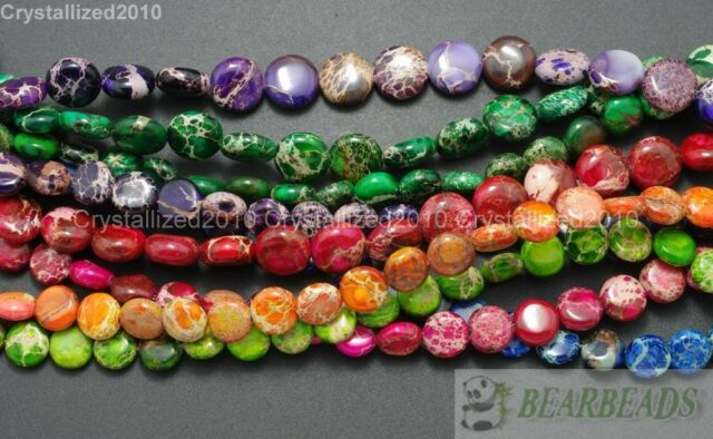 Natural Sea Sediment Jasper Gemstone Round Coin Loose Beads 8mm 10mm 16'' Strand