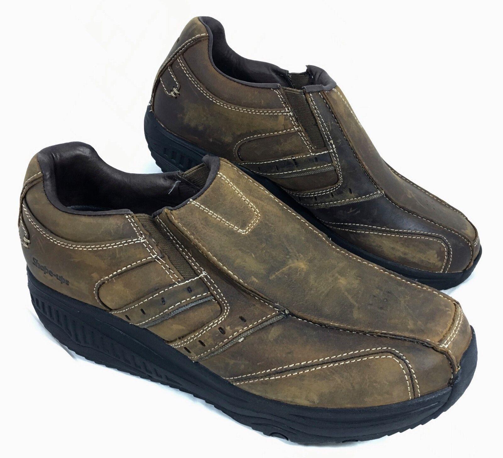 NEW Men's Brown Skechers Shape-Ups Strider Loafers Brown Men's Leather Sz 10.5 M bf8145