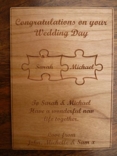 5th Anniversary Personalised Wedding Anniversary Jigsaw Pieces wooden card