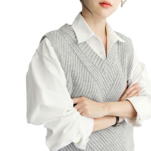 Women Knitted Vest Sleeveless Jumper Sweater V-neck Winter Tank Tops Warm New D