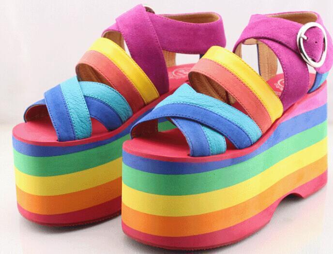 Retro para Mujer Mujer Mujer Arco Iris Tacón alto puntera abierta plataforma ENrojoADERA Zapatos Sandalias De Fiesta Nuevo  clásico atemporal