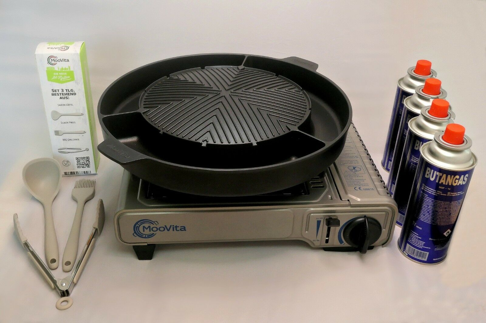MooVita Grillplatte + Gaskocher mit FSD (Stopgas) + Silikon Set + Gaskartuschen