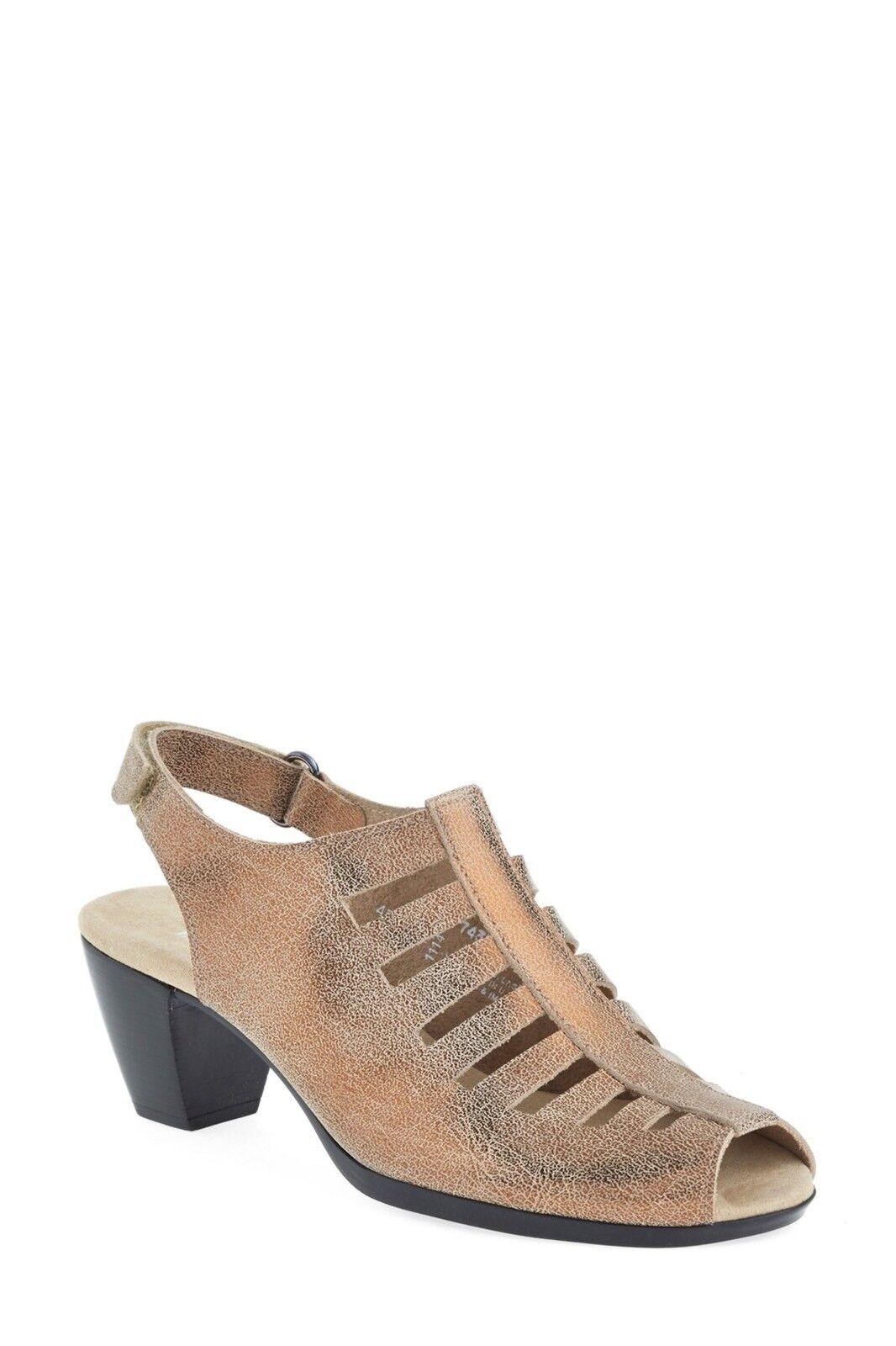 da non perdere! Munro 8.5M 8.5M 8.5M Abby Slingback oro Crackle Leather Mid Block Heel Peep Toe Sandal  servizio di prima classe