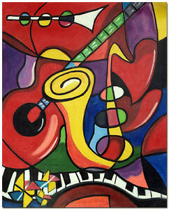 Music-Instruments-Signed-Hand-Painted-Picasso-Oil-Painting-On-Canvas