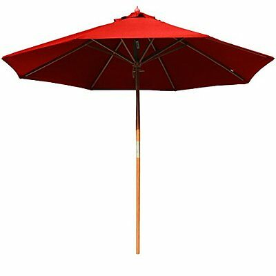 Patio Market Umbrella 8Ft Large Height Adjustable Red Fiberglass Pole UV Protect