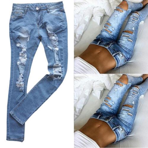 Damen Stretch Skinny Denim Jeans Jeggings Ripped Hüfthose Röhrenjeans Boyfriend