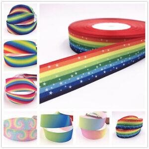 1-10-Yard-1-039-039-25MM-rainbow-Printed-Grosgrain-Ribbon-Hair-Bow-Sewing-Ribbon-select